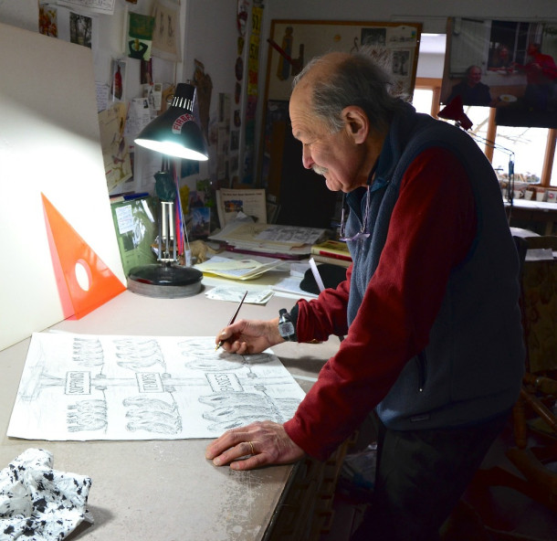 Ed Koren works in his Brookfield studio on a cartoon destined for the New Yorker magazine. He has been named Vermont's Cartoonist Laureate for his distinctive squiggly characters, which have graced many publications as well as all sorts of Vermont posters and publications. Photo by Andrew Nemethy