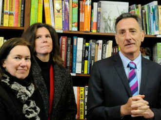 Tess Taylor, Cary Brown and Gov. Peter Shumlin at a press conference on March 10, 2014.