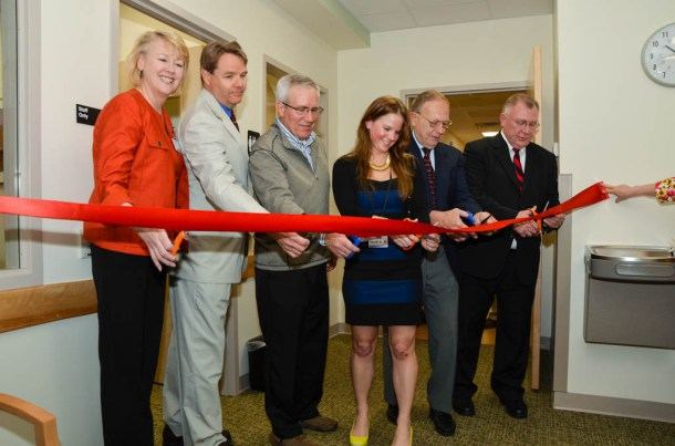 Cutting the ribbon at CVMC's new Express Care facility are (from left): CVMC President & CEO Judy Tartaglia, Express Care Medical Director Richard Burgoyne, MD, Steve Connor, Connor Construction, CVMC Facility Project Coordinator Nicole Duncan, Rep. Tom Koch and CVMC Board Chair Greg Voorheis.  Courtesy photo