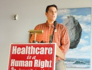 James Haslam, executive director of the Vermont Workers Center, pushed for universal health care at a news conference Monday in Burlington. Photo by Morgan True/VTDigger