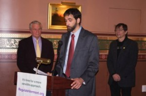 Matt Simon, New England political director of the Marijuana Policy Project, announced Tuesday, Jan. 6, 2015, the formation of the Vermont Coalition to Regulate Marijuana, a collaboration of groups that support the legalization of marijuana in Vermont. Photo by Tom Brown/VTDigger