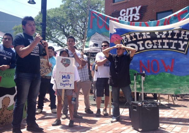 Farm worker Victor Diaz speaks at a rally Saturday calling for Ben & Jerry's to pay undocumented workers at farms from which the ice cream manufacturer buys milk to pay better wages and ensure better working conditions. Photo courtesy Keith Brunner