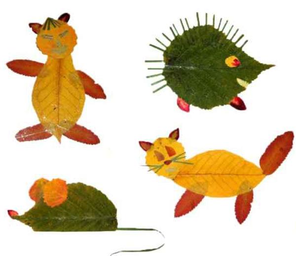 Аппликация детский сад из листьев