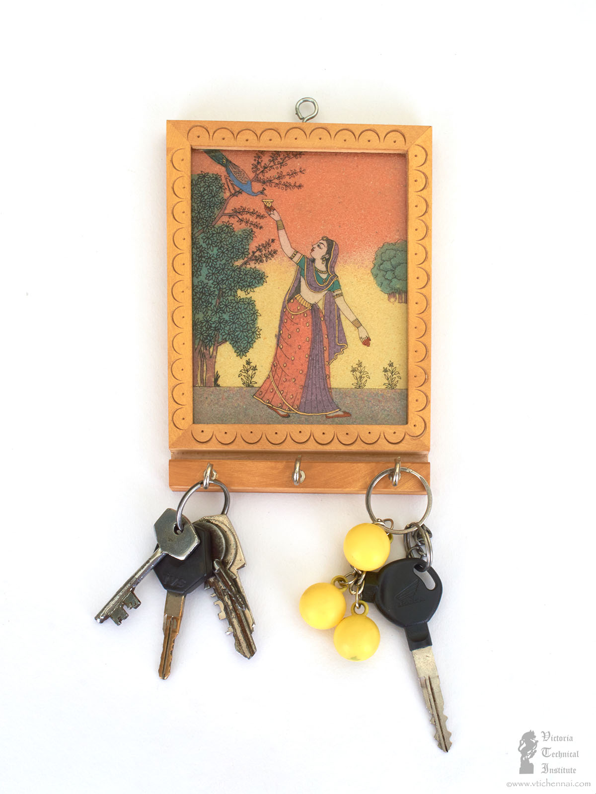 17 Cm 17 Cm Handmade Whitewood Gem Stone Painting Key Holder Vti Chennai