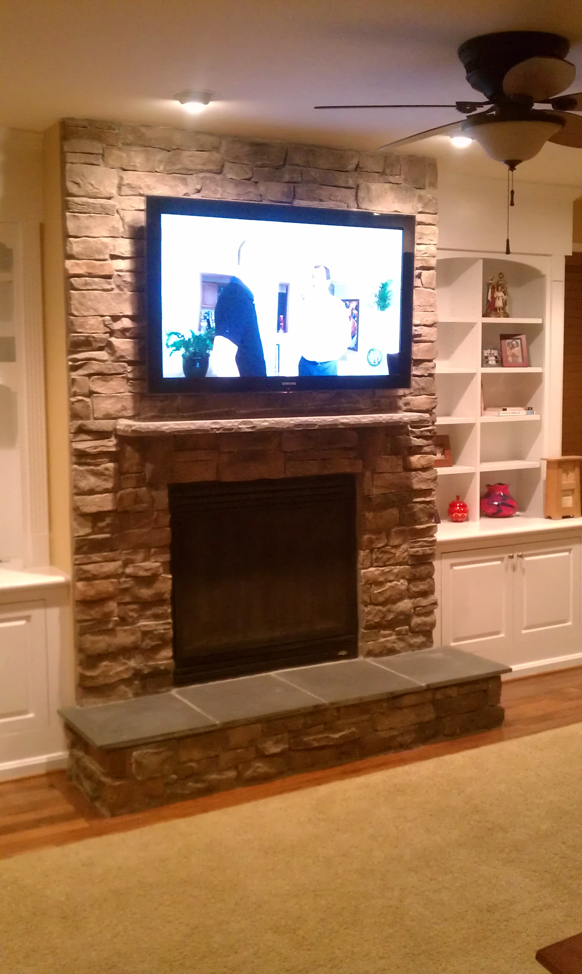 Television Over Fireplace Design Over Fireplace Tv Installation Stone