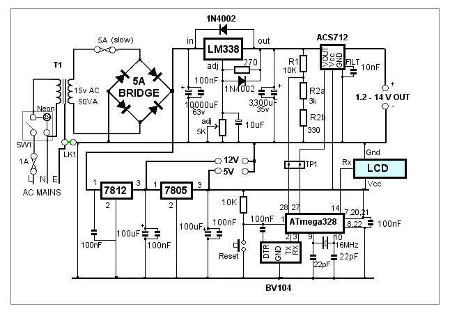 lm338 adjustable power supply circuit