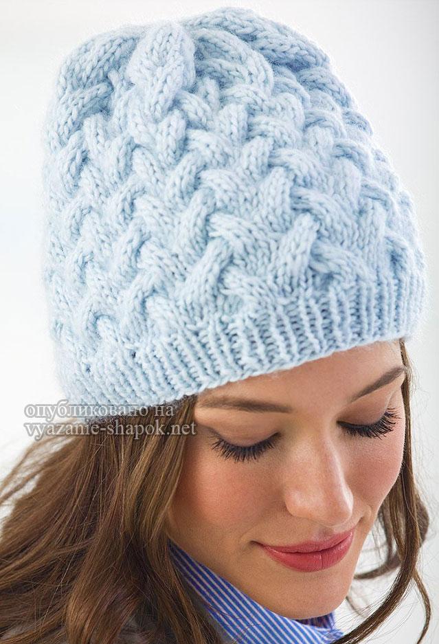 Вязание шапок для женщин с косами 428