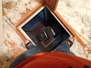 Standing in the attic looking down after installing antennas