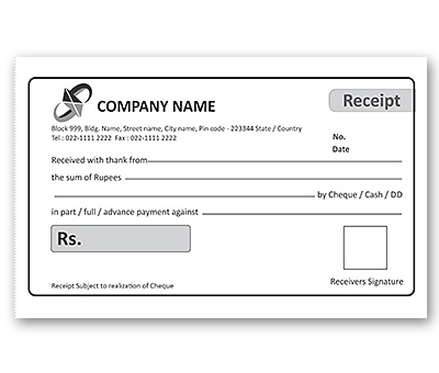 Bill Book Design for Office Cash Receipt Offset or Digital printing - Cash Recepit