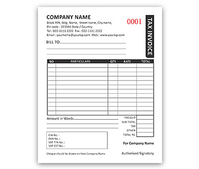 Bill Book Design for Invoice A6 Offset or Digital printing - invoice bill