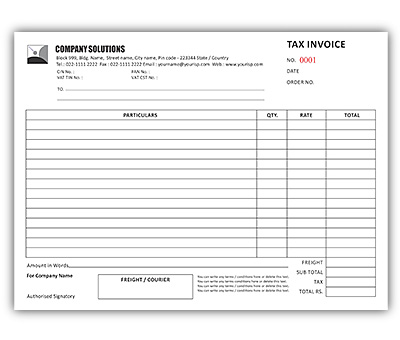 Bill Book Design for Tax Invoice A4 Offset or Digital printing - Invoice Print