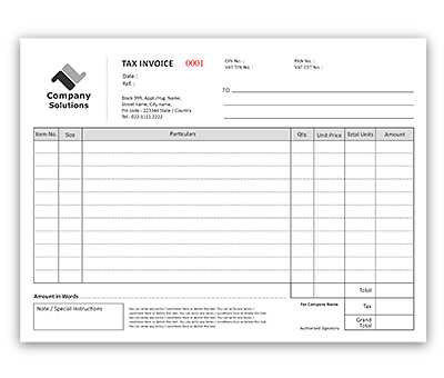 Bill Book Design for Invoice A4 Offset or Digital printing