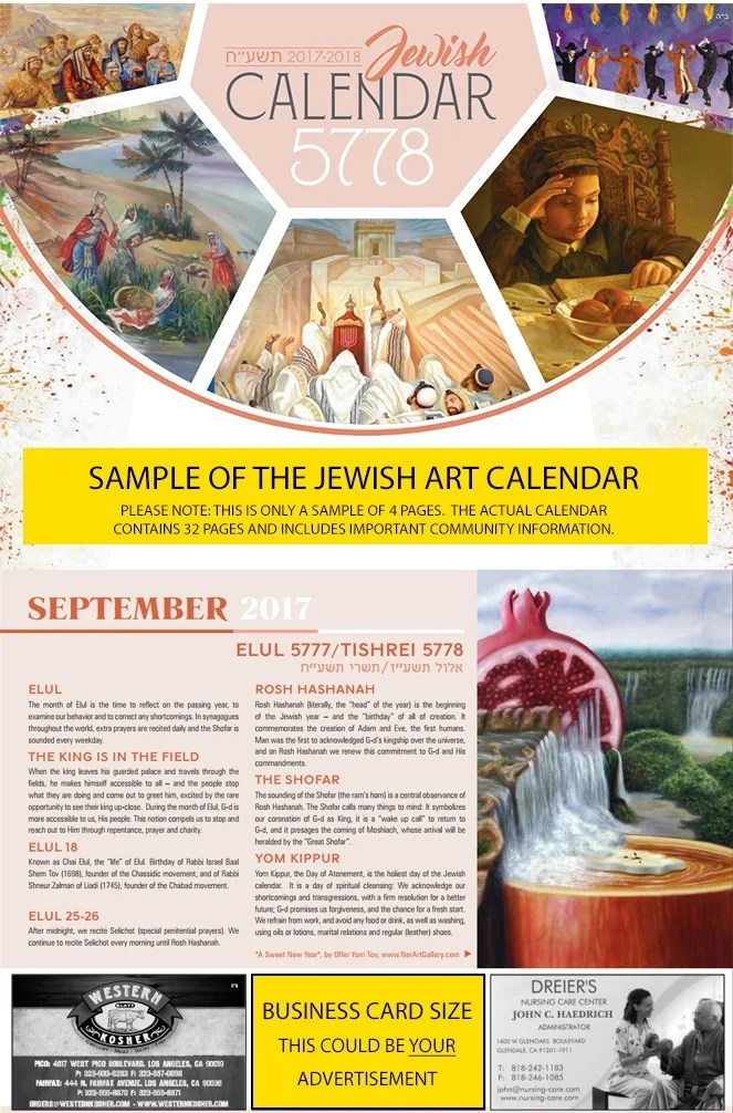 Sample Calendar page - Chabad Cayman Jewish Community Center