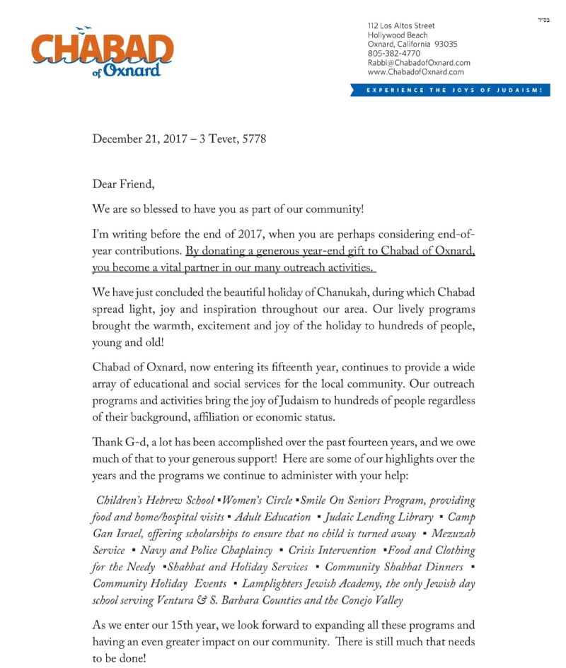 Year End Letter 2017 - Chabad of Oxnard
