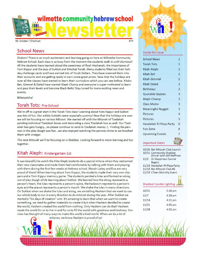 Monthly Newsletter - Fraida-Cameron Chabad Center of Wilmette