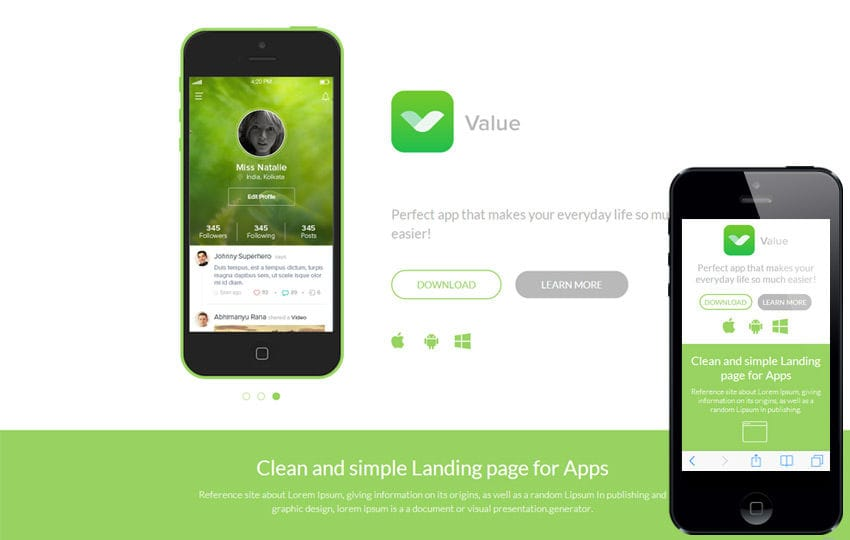 Value a Mobile App based Flat Bootstrap Responsive web template by - Free App Template