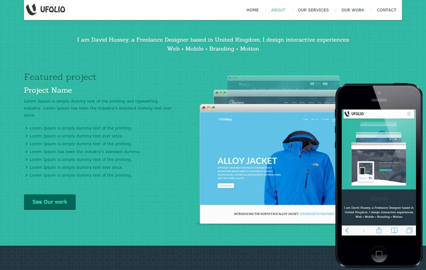 Personal website Mobile Templates designs Free - interactive website template