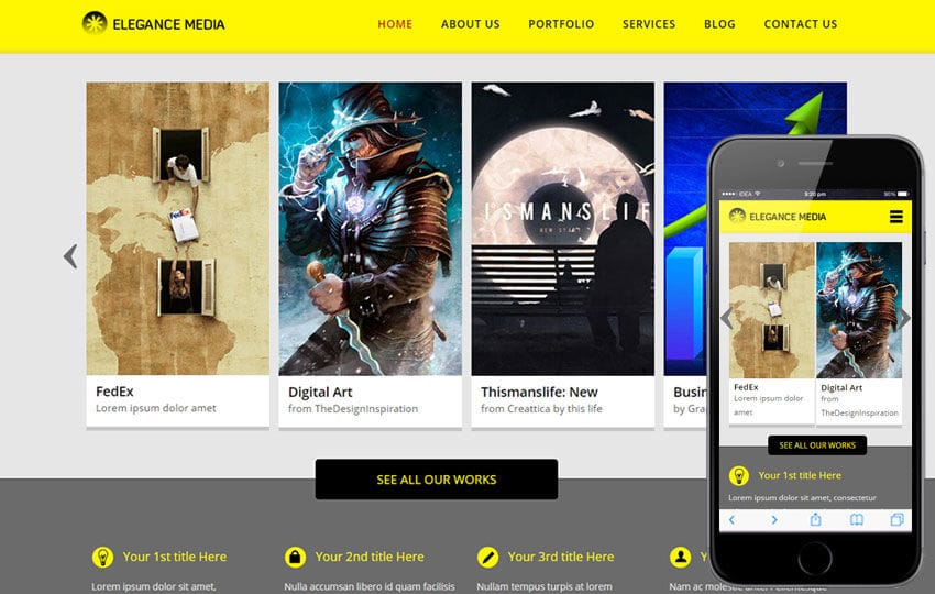 Elegance Media a Entertainment Category Flat Bootstrap Responsive - Responsive Media