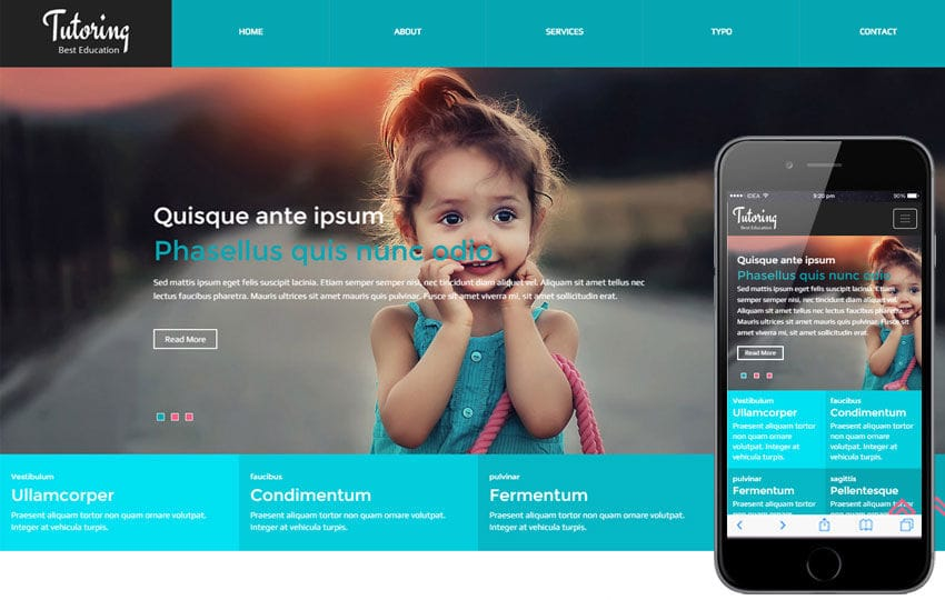 Tutoring a Educational Category Flat Bootstrap Responsive web