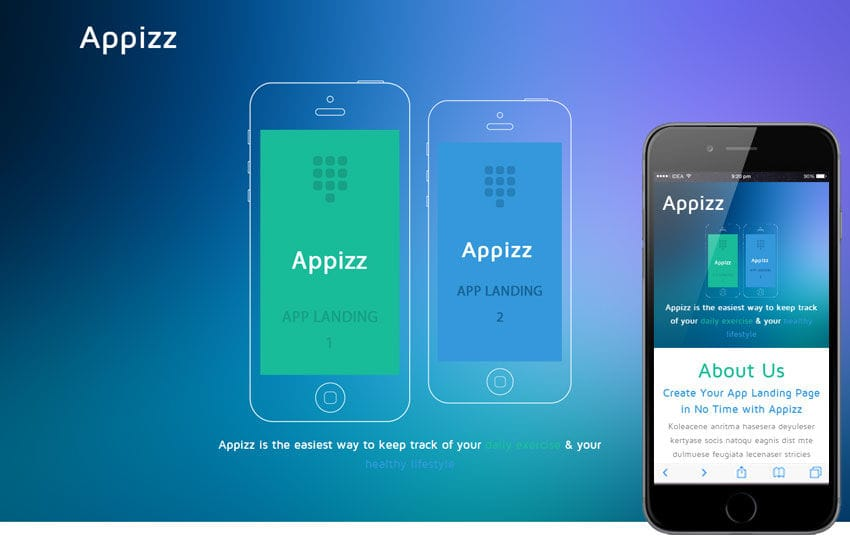 Appizz a Mobile App based Flat Bootstrap Responsive Web Template by - Free App Template