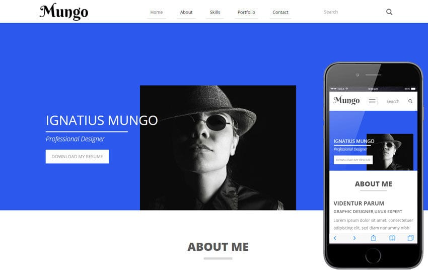 Mungo a Resume Portfolio Flat Bootstrap Responsive Web Template by