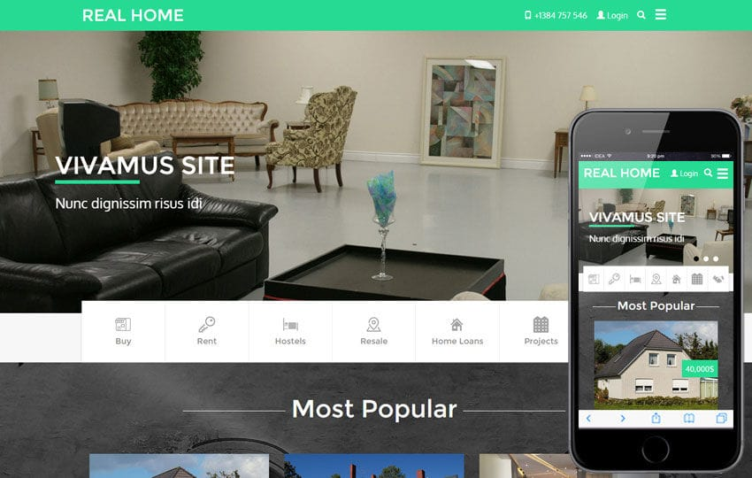 Real Home a Real Estate Category Flat Bootstrap Responsive Web - property management websites templates
