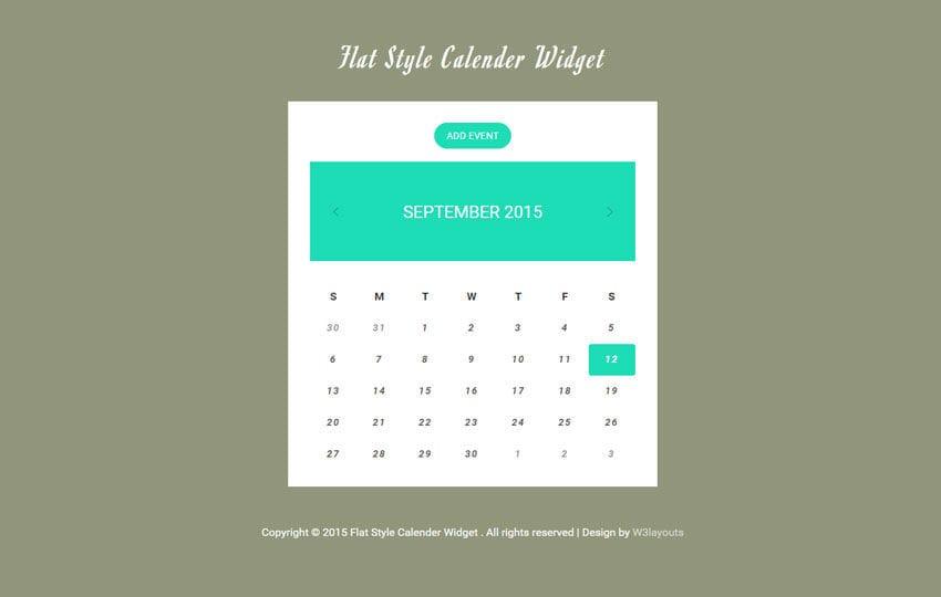 Flat Style Calendar Responsive Widget Template by w3layouts - calendar template for website