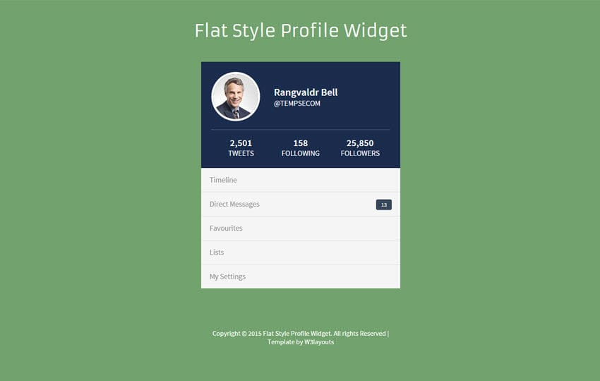 Flat Style Profile Responsive Widget Template by w3layouts