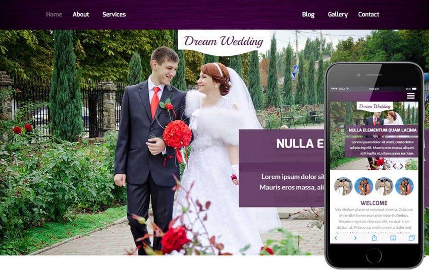 Dream Wedding a Wedding Planner Flat Bootstrap Responsive Web - wedding template