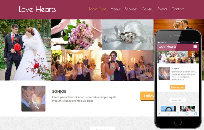 Love Hearts a Wedding Planner Flat Bootstrap Responsive Web Template