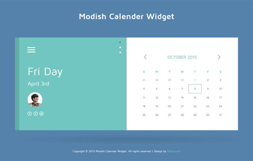 Modish Calendar Responsive Widget Template by w3layouts