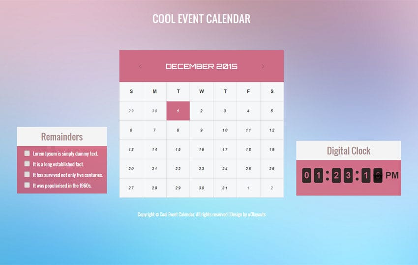 Cool Event Calendar Responsive Widget Template - w3layouts