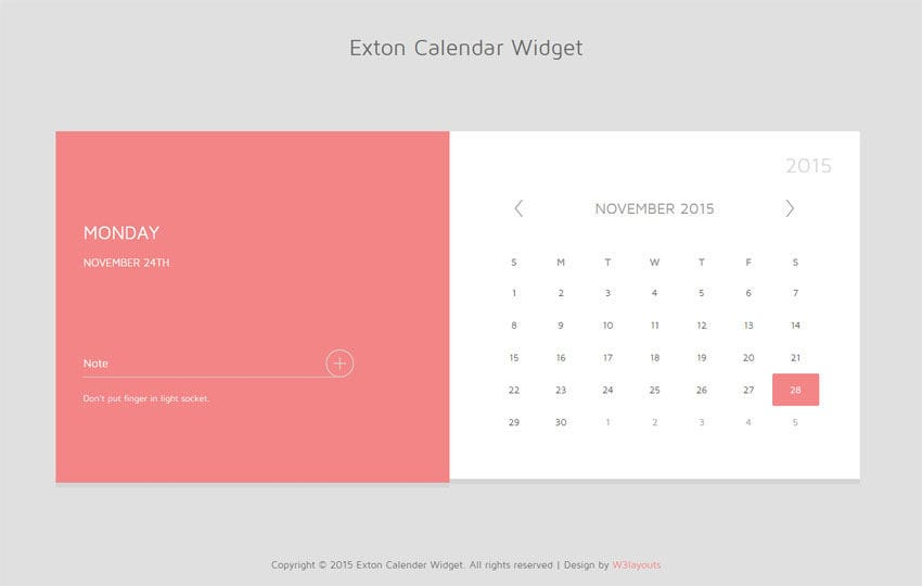 Exton Calender Responsive Widget Template by w3layouts
