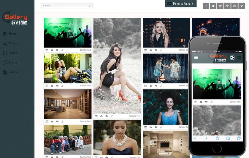 Gallery Station Photo Gallery Mobile Website Template by w3layouts