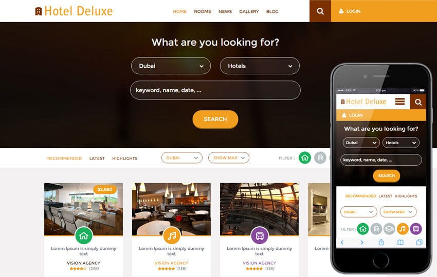 Hotel Deluxe a Hotel Category Flat Bootstrap Responsive Web Template - property management websites templates