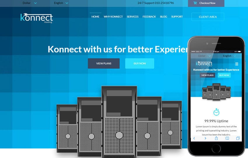 Konnect a Web Hosting Flat Bootstrap Responsive Web Template by