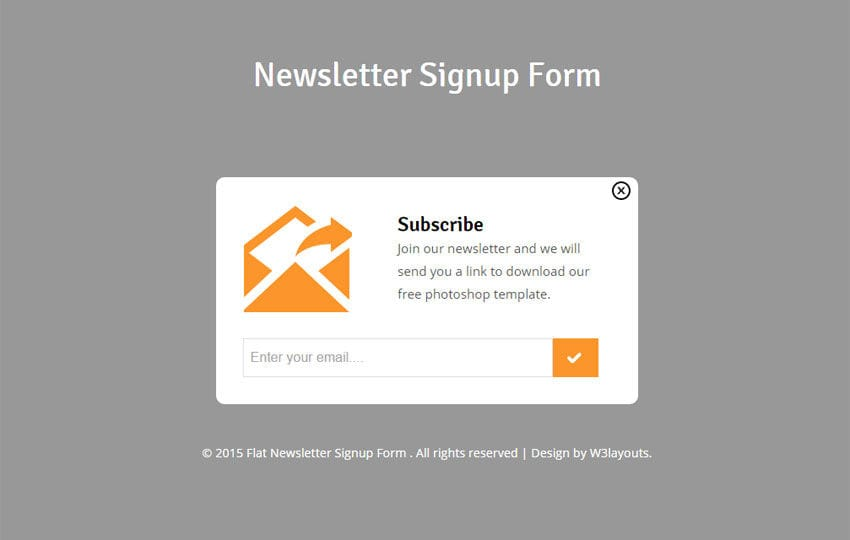 Newsletter Signup Form Responsive Widget Template - w3layouts