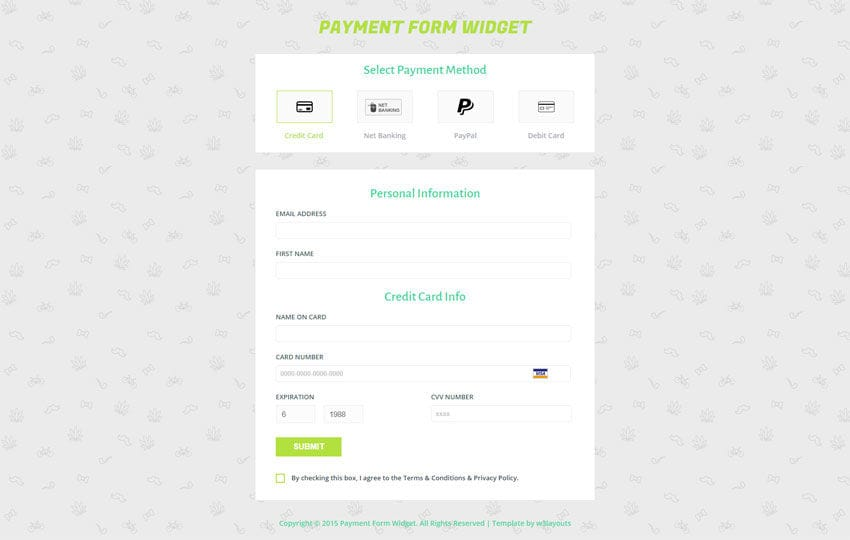Payment Form Responsive Widget Template - w3layouts