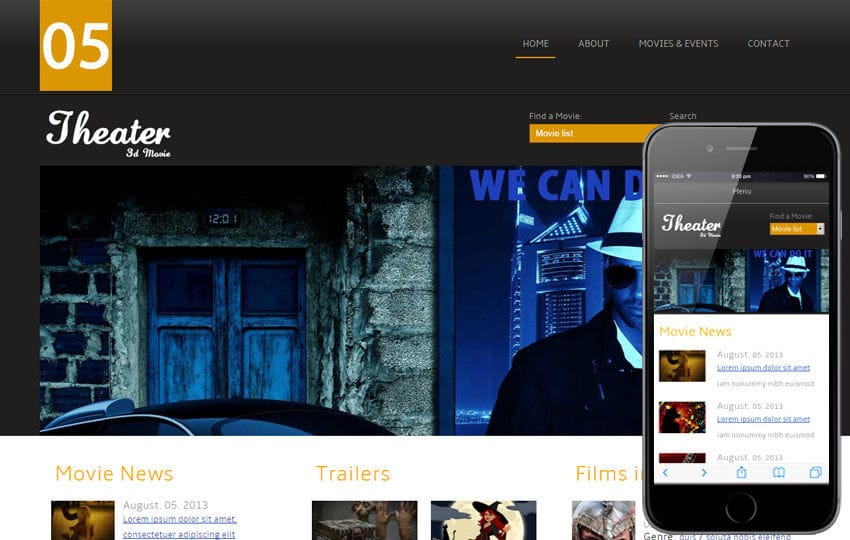 Theater Entertainment Mobile Website Template by w3layouts