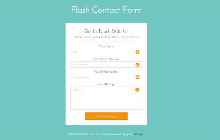 Flash Contact Form Responsive Widget Template - w3layouts