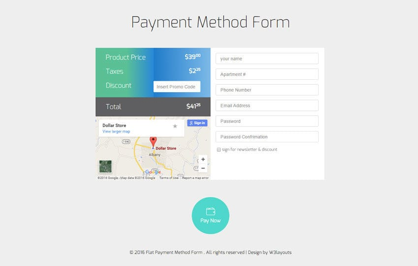 Payment Method Form Responsive Widget Template - w3layouts