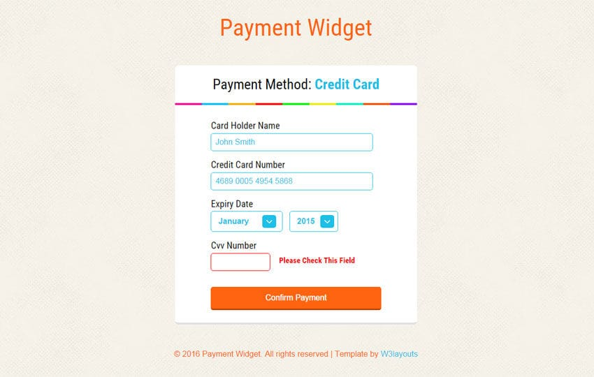 Payment Widget Form Responsive Template - w3layouts