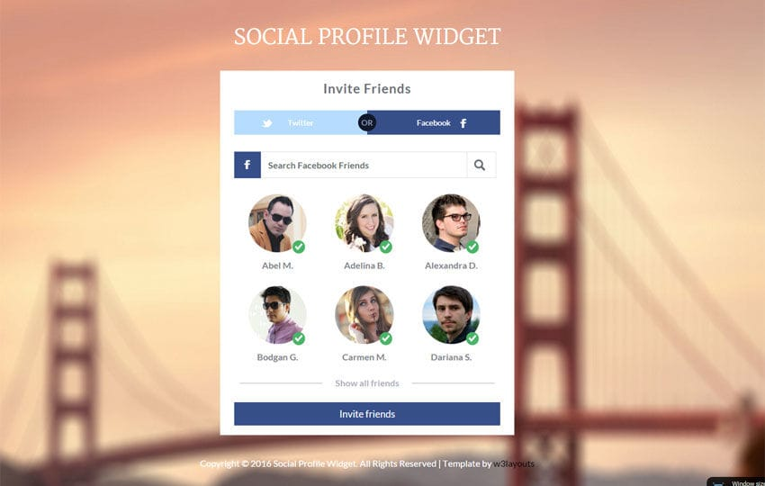 Social Profile Widget Responsive Template - w3layouts - free profile templates