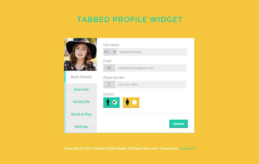 Tabbed Profile Widget Responsive Template - w3layouts