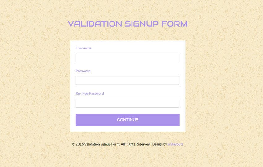 Validation Signup Form Responsive Widget Template - w3layouts