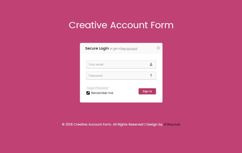 Creative Account Form Responsive Widget Template - w3layouts - account form template