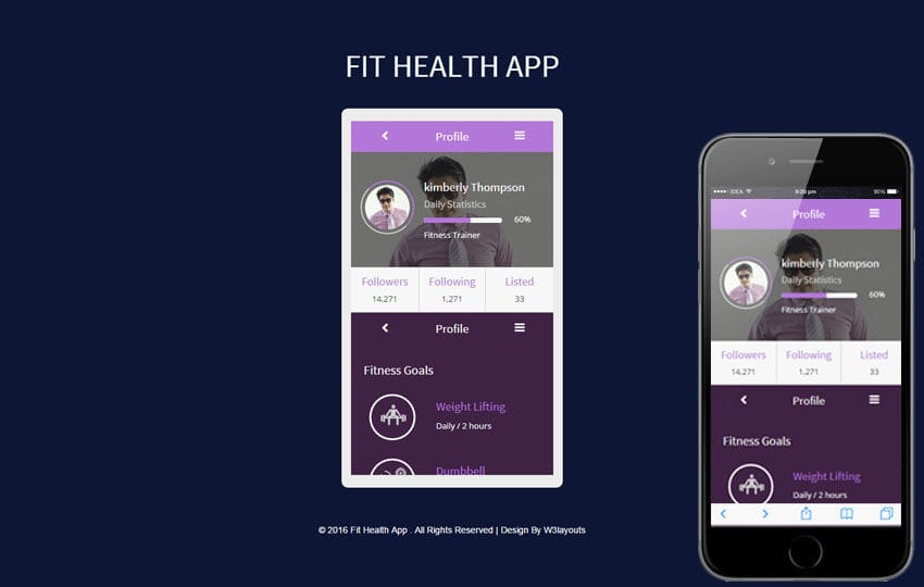Fit Health App A Mobile App Responsive Web Template - Free App Template