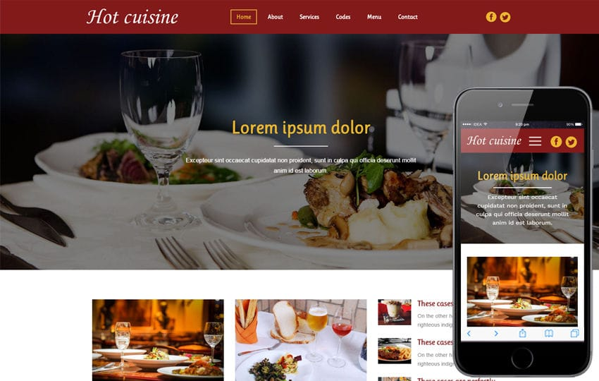 Top 10 Free HTML5 Bootstrap Restaurant Website Templates in 2016