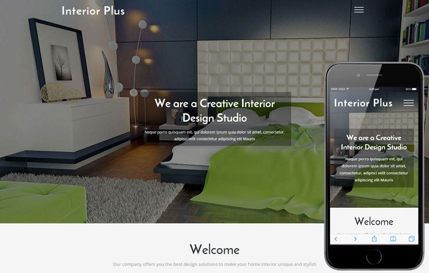 Interior Plus a Interior and Furniture Bootstrap Responsive Web Template