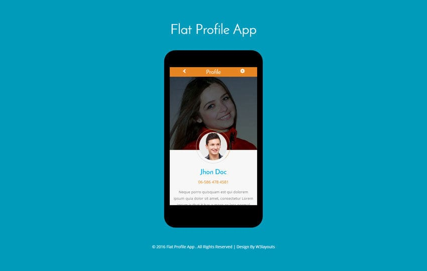 Flat Profile App A Mobile App Flat Bootstrap Responsive Web Template - profile templates